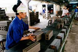 Worker produces bricks in a co-operative in the central province of Thanh Hoa. Almost 1,000 goods would enjoy a 1-6 per cent import tax cut in 2011. — VNA/VNS Huy Hung